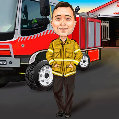 Firefighter Caricature from Photos - Custom Firefighter Gift - example