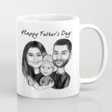Personalized Photo Mug: Monochrome Group Cartoon Drawing from Photo