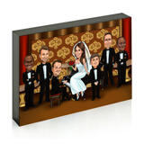 Wedding Couple with Guests on Photo Block Caricature
