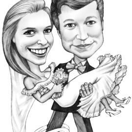 在黑白铅笔的滑稽的婚礼夫妇讽刺画图画