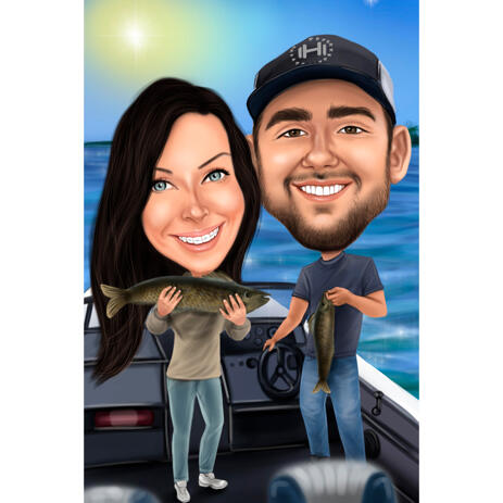 Couple Fishing Gift Caricature from Photo with Custom Background - example