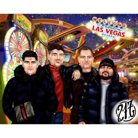 Group Friends Caricature Drawing in Color Style from Photos with Las Vegas Background - example