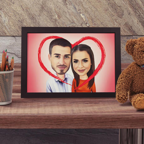 Romantic Couple Caricature on Poster with Red Heart - example