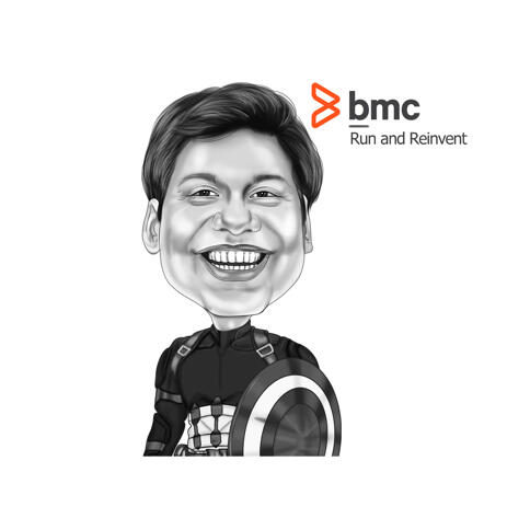 Superhero Exaggerated Style Employee Caricature in Black and White Style - example