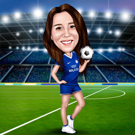 Woman Soccer Player Colored Style Caricature Drawing with Stadium Background - example