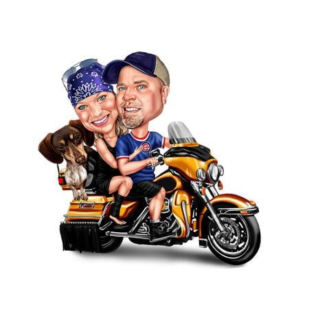 Карикатура пары с домашним животным на мотоцикле нарисованная с фотографий - example