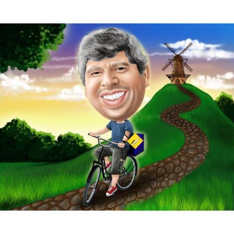 Карикатура человека на велосипеде нарисованная с фоном с фотографии - example