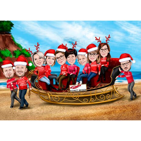 Corporate Christmas Caricature with Tropical Background - example