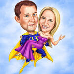 Super-héros Couple Caricature example 8