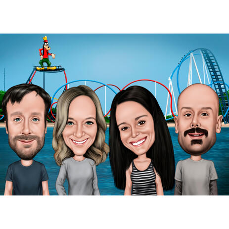 Funny Exaggerated Group Journey Caricature from Photos with Roller Coaster Background - example