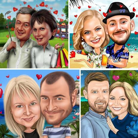 Personalized Couple Caricature in Colored Style with Background - example