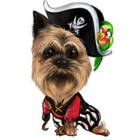 Funny Pirate Dog Caricature in Color Style from Photo for Custom Pet Lover Gift
