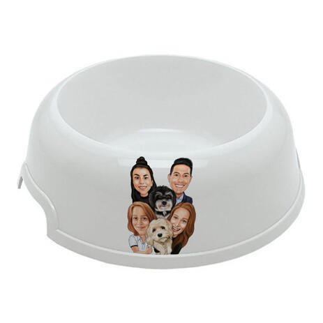Family with Pets Caricature as Pet Bowl - example