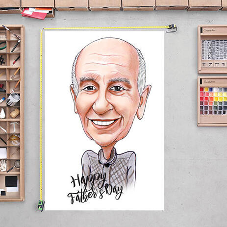 Father Caricature Gift Colored Husband Portrait Cartoon Print Poster - example
