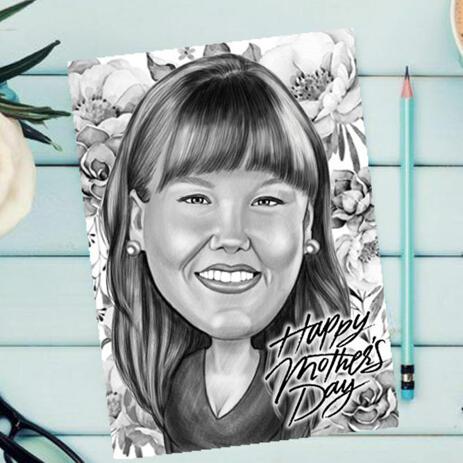 Originalzeichnung vom Foto: Monochrome Pencils Karikatur für Muttertagsgeschenk - example