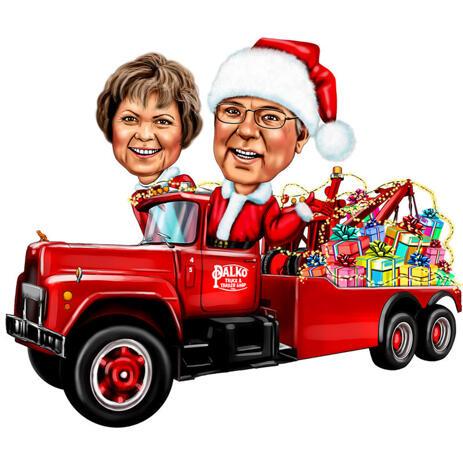 Coppia di Natale in macchina per la cartolina di Natale - example