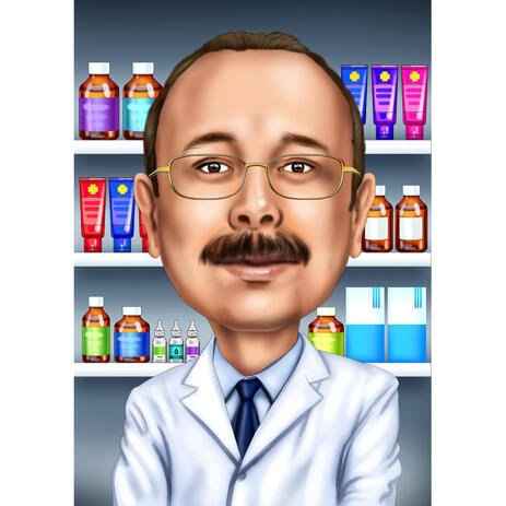 Custom Pharmacist Portrait Hand-Drawn from Photos - example