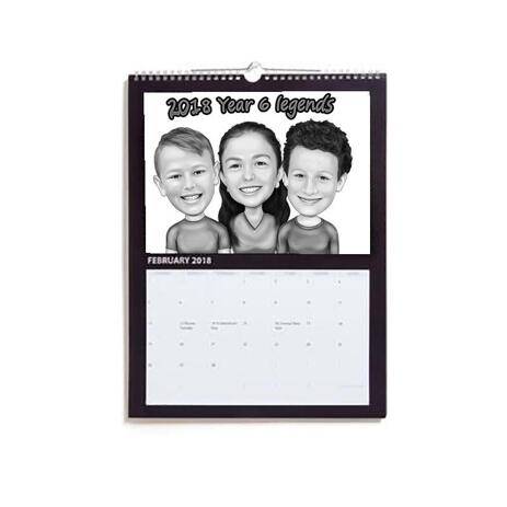 Children Caricature Printed on Calendar - example