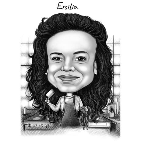 Butcher Caricature in Exaggerated Black and White Style on Custom Background - example