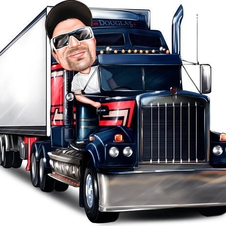 Person Caricature in Any Vehicle Drawn from Photos - example