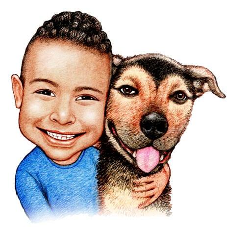 所有者与狗漫画从彩色铅笔风格的照片 - example