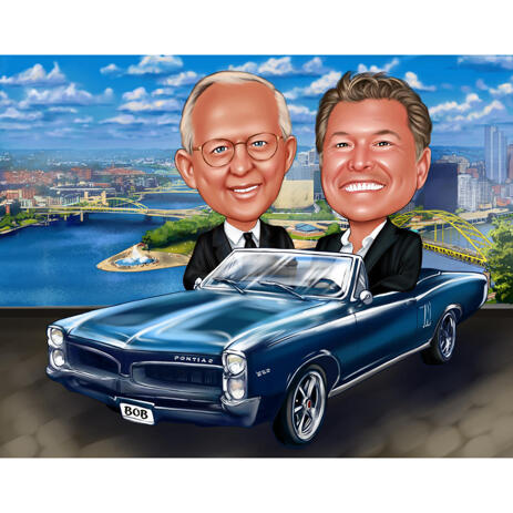 Two Persons in Car Caricature with Custom Background - example