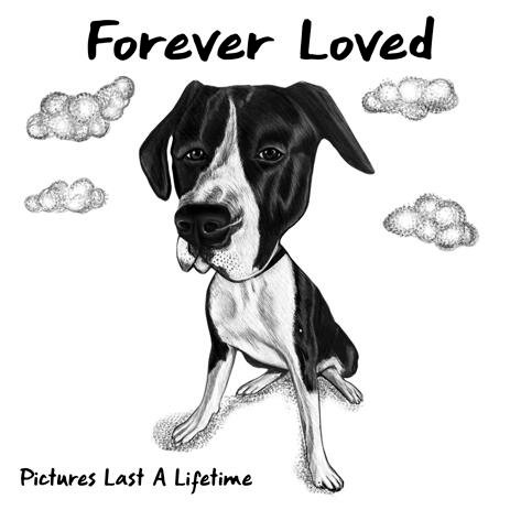 Remember Dog Portrait Caricature in Black and White Drawing Style from Photos - example