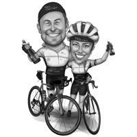 Cyklister Par Karikatyr i svartvitt stil från foton