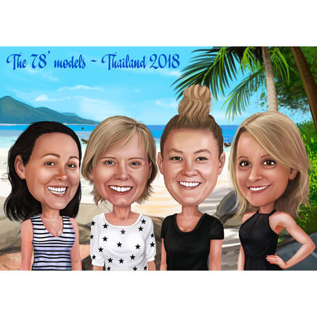 Friends on Vacation Caricature from Photos with Tropical Background - example