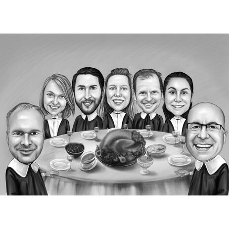 Thanksgiving Dinner Family Caricature from Photos in Black and White Style - example
