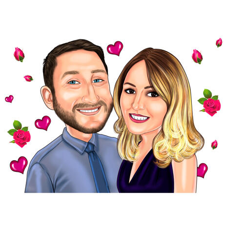 Couple Caricature in Color Style with Roses and Hearts Background - example
