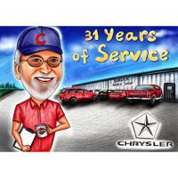 Caricatura del regalo di pensionamento della persona disegnata a mano completamente personalizzata in stile colore dalle foto