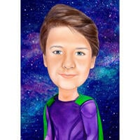 Kid Superhero Caricature from Photo with Galaxy Background