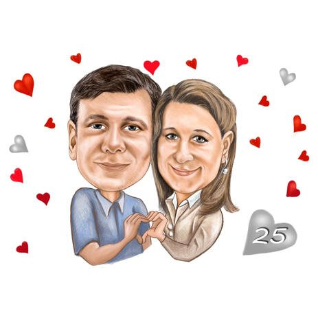 25th Years Wedding Couple Celebration Colored Caricature Perfect Gift for Silver Anniversary - example