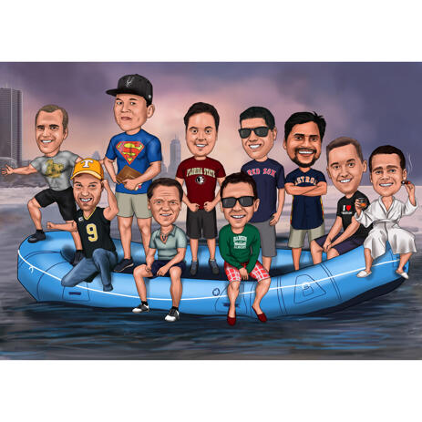 Group on Boat Caricature from Photos - example