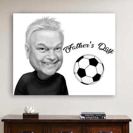 Father's Day Sport Caricature from Photos in Black and White Style Printed on Canvas - example