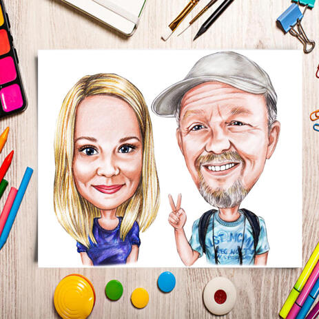 Poster Caricature Gift for Couple in Colored Style from Photo - example
