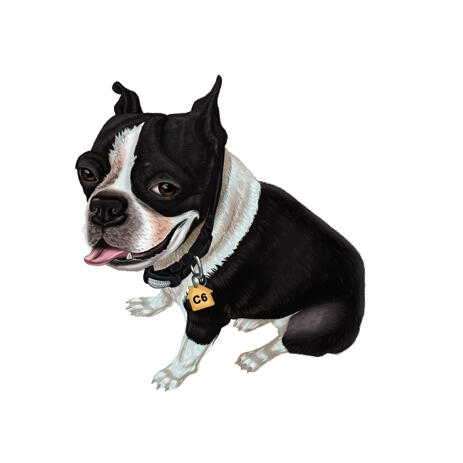 French Bulldog Portrait in Full Body Colored Type from Photo - example