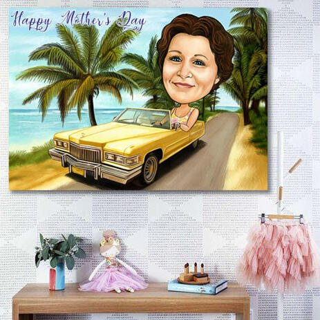Printed Caricature on Canvas: Personalized Canvas Print for Mother's Day Gift - example