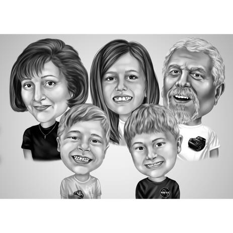 Funny Family Caricature Gift in Black and White Style from Photos for Five Family Members - example