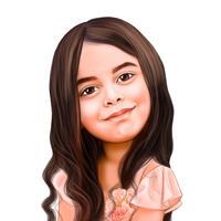 Карикатура девушки в цветном стиле с фотографии для подарка