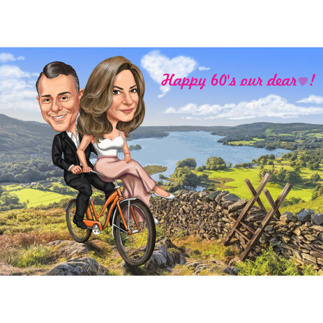 Couple with Bicycle Adventure Ride with Custom Background in Colored Style for Gift - example