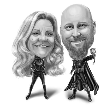 Full Body Couple Superhero Caricature from Photos in Black and White - example