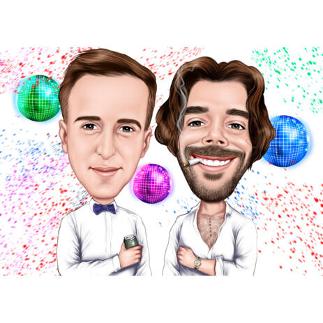 Head and Shoulders Persons Custom Caricature Drawing from Photos for Party Mood Gift - example