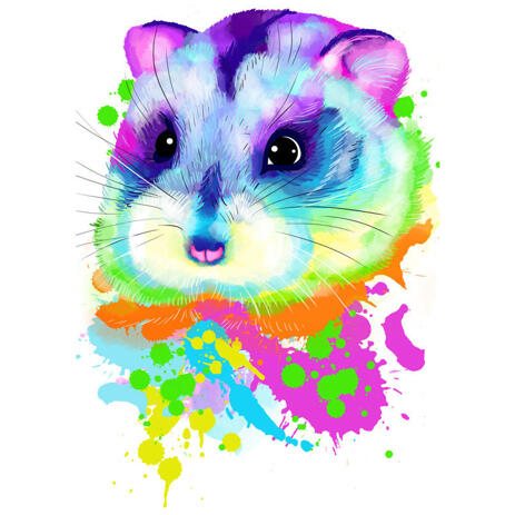 Vibrant Hamster Portrait in Watercolor Style from Photo - example