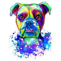 Карикатуры собаки боксера в акварельном стиле с фотографии
