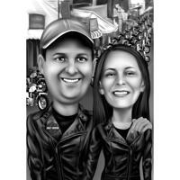 Тематическая карикатура на пару Harley Davidson в черно-белом цвете на мотоциклетном фоне