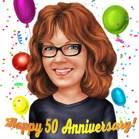 Happy 50 Anniversary Caricature Gift - example