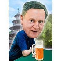 Mann mit Bierkarikatur auf benutzerdefiniertem Hintergrund von Foto