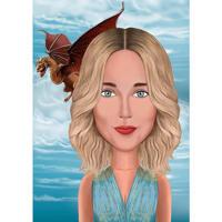 Индивидуальная игра престолов тема женский мультяшный портрет с фоном